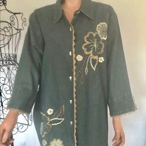 Liz & Me Plus Size 3X Denim Jacket Shirt Embroider